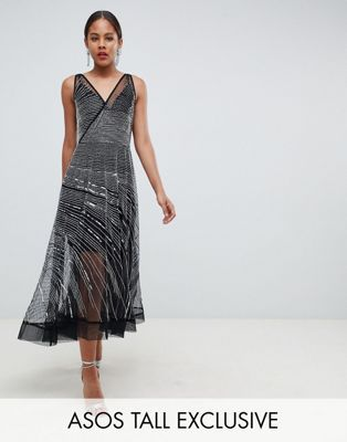 ea30d551dd51 ASOS DESIGN Tall mesh embellished midi skater dress