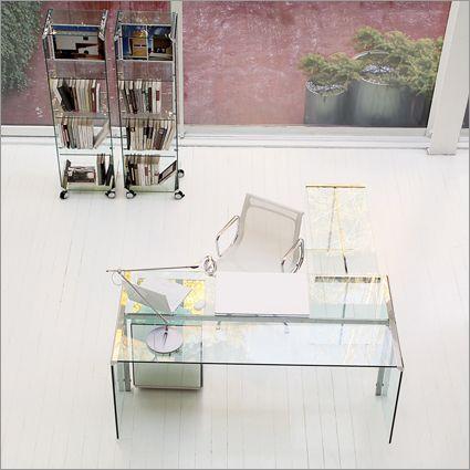 Gallotti Radice President Scrivania Glass Desk By Studio Gr Light Transparent And Pure Of
