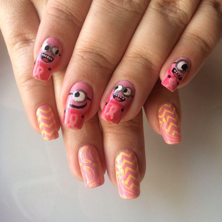 Nail design. Breast cancer Minions and Bananas!
