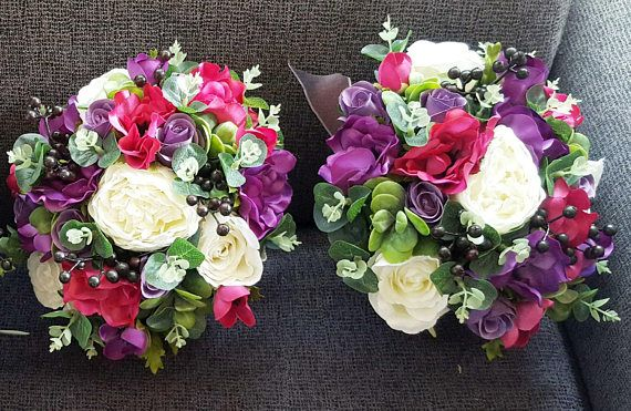 Bright boho wedding bouquet bridal bouquet. Jewell colours, purple, mauve, hot pink and white bouquet.  Roses, peonies, anemones, eucalyptus