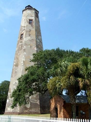 Old Baldy Lighthouse on Bald Head Island!! The oldest lighthouse in North Carolina, Old Baldy was commissioned by Thomas Jefferson and began operating in 1817.  Ferry from Southport on Cape Fear!! Beautiful! Love this one!