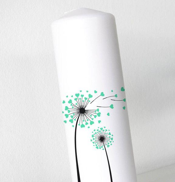 Hochzeitsdeko - Hochzeitskerze - Pusteblume 2 -  Ohne Folie! - ein Designerstück von printsonalities bei DaWanda