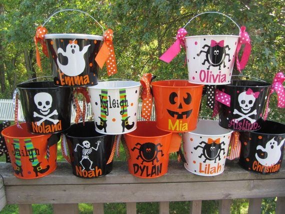 Halloween bucket: Personalized Halloween bucket pail - many designs - trick or treat on Etsy, $20.00
