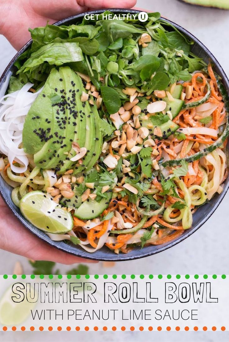 If you like Thai summer rolls, you will love this healthy low-carb dish filled with fresh ingredients and using peanut lime sauce! This tasty gluten free, vegetarian summer bowl can prepared in under 30 minutes!