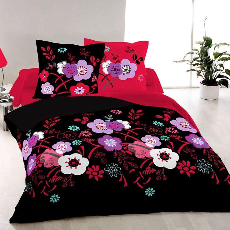 Persia Noir - Parure de Lit, 100% Coton (Housse de couette et Taies d'oreiller)