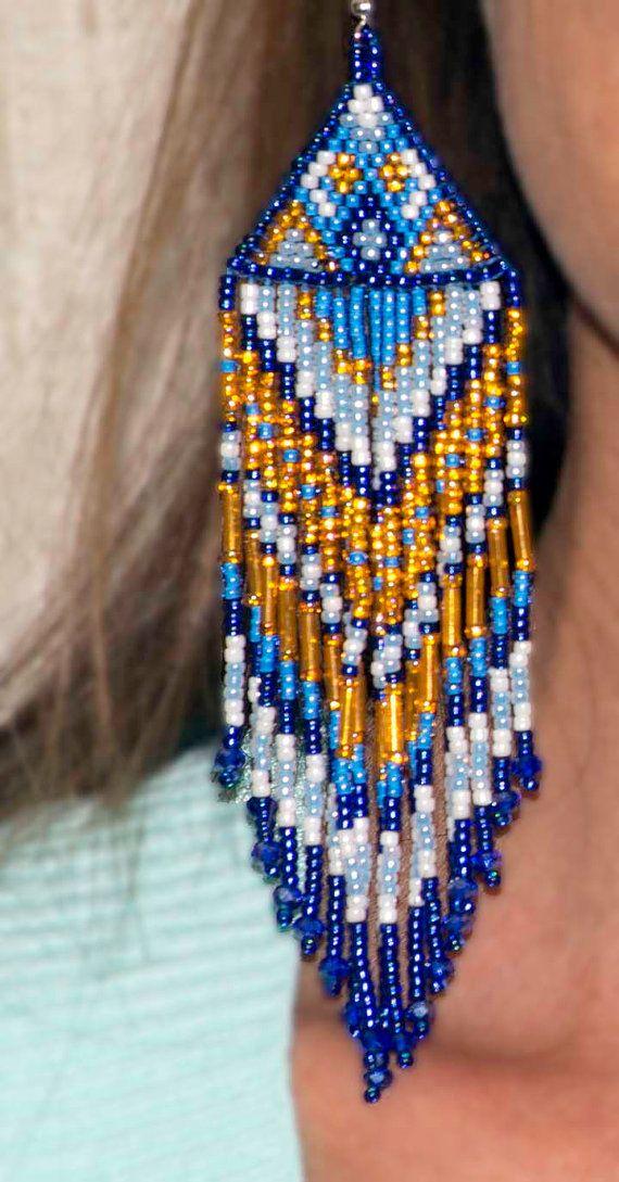 large seed bead earrings native american by HeartofSedonaPhotos