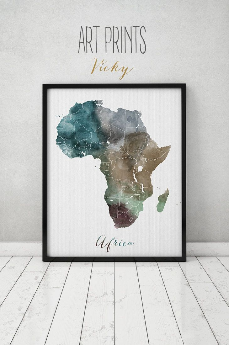 Africa watercolor map, art print, travel map, Africa poster, Africa map, wall art, painting, art fine print, home decor, ArtPrintsVicky. by ArtPrintsVicky on Etsy