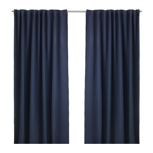 IKEA WERNA Block-out curtains, 1 pair Dark blue 145x300 cm The curtains prevent most light from entering and provide privacy by blocking the view into...