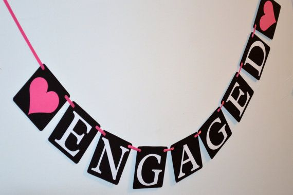Engaged Banner Engagement Prop We're Engaged by KraftsbyKassy, $15.50