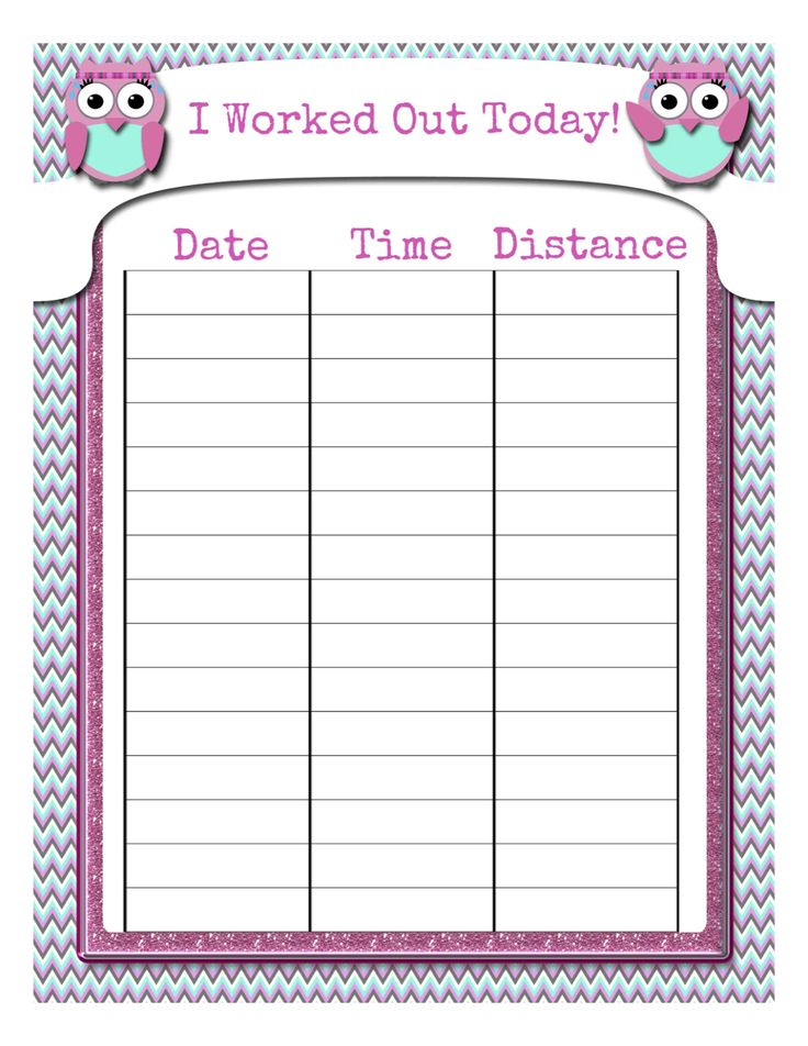 Owl Workout Time Sheet Free! Pinned by wwwmyowlbarn - workout sheet