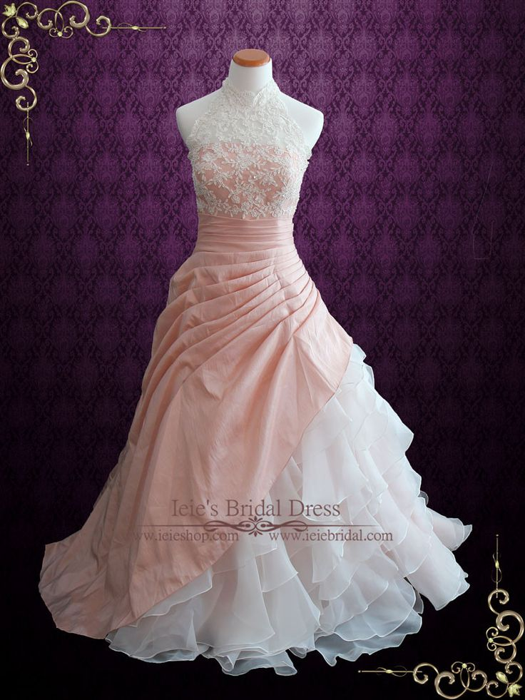 Halter Blush Pink Ball Gown Wedding Dress with Organza Ruffles | Alina | Ieie's Wedding Dress Boutique https://www.ieiebridal.com/collections/blush-wedding-dress
