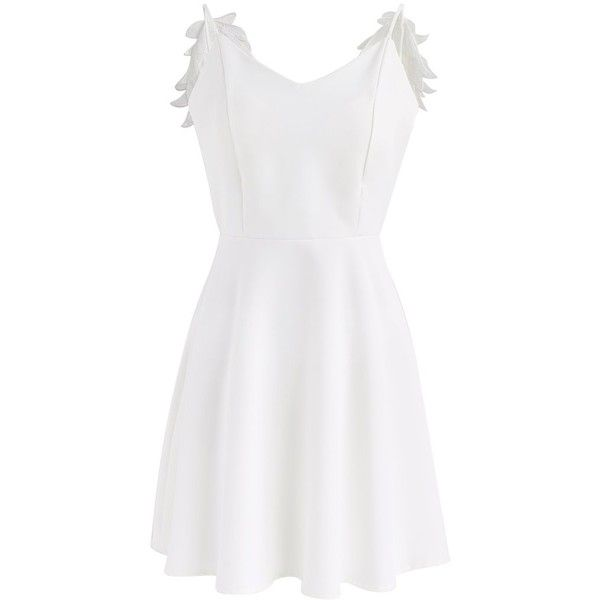 Chicwish Angel's Wings Cami Dress in White ($49) ❤ liked on Polyvore featuring dresses, white, flared dresses, white flare dress, white color dress, low cut back dress and white cami dress