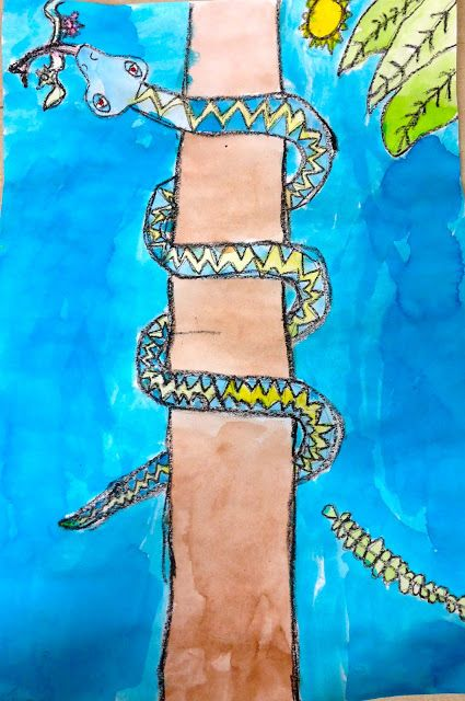 Art: Expression of Imagination: second grade art lesson. slithering rainforest snakes using watercolor and crayon.