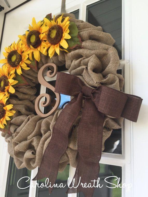 Sunflower Wreath burlap wreath brown bow wreath fall