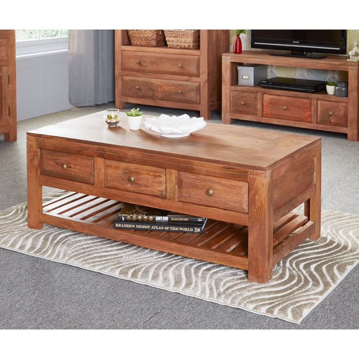 3 Drawer Coffee Table Mango Wood Furniture Living Room Storage Wooden  Natural Part 50