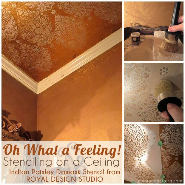 Stenciling on a bathroom ceiling adds a bright touch to a dark room. via Paint + Pattern