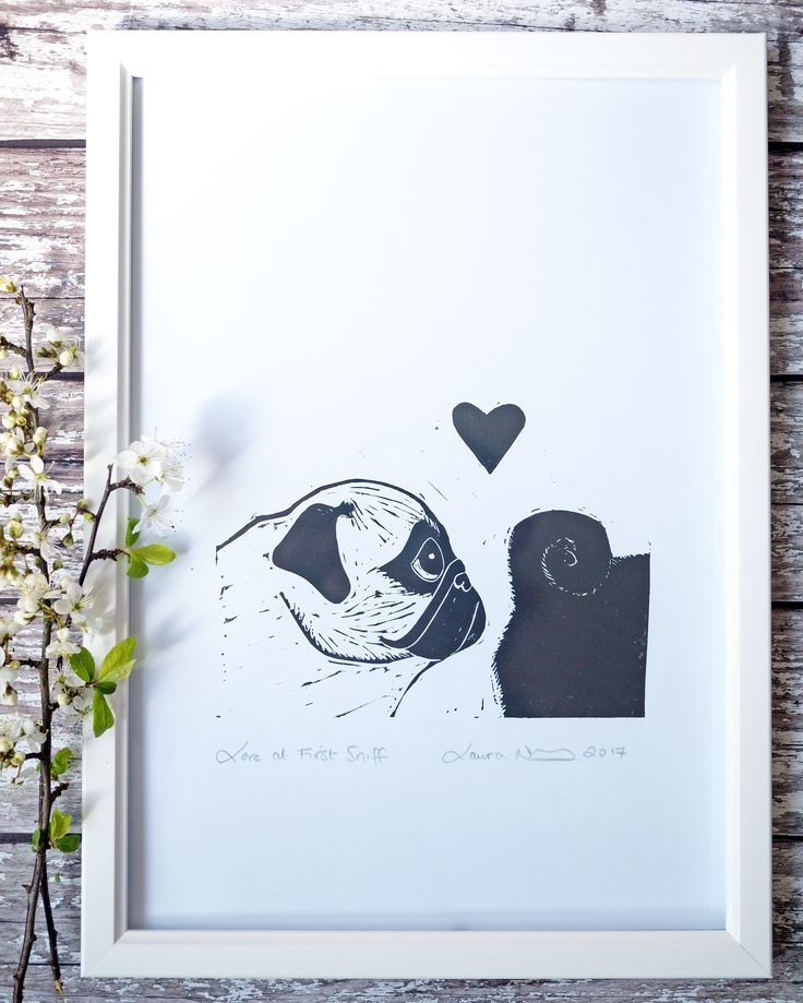 Love at First Sniff Original Lino Cut Print - The Black Pug Press