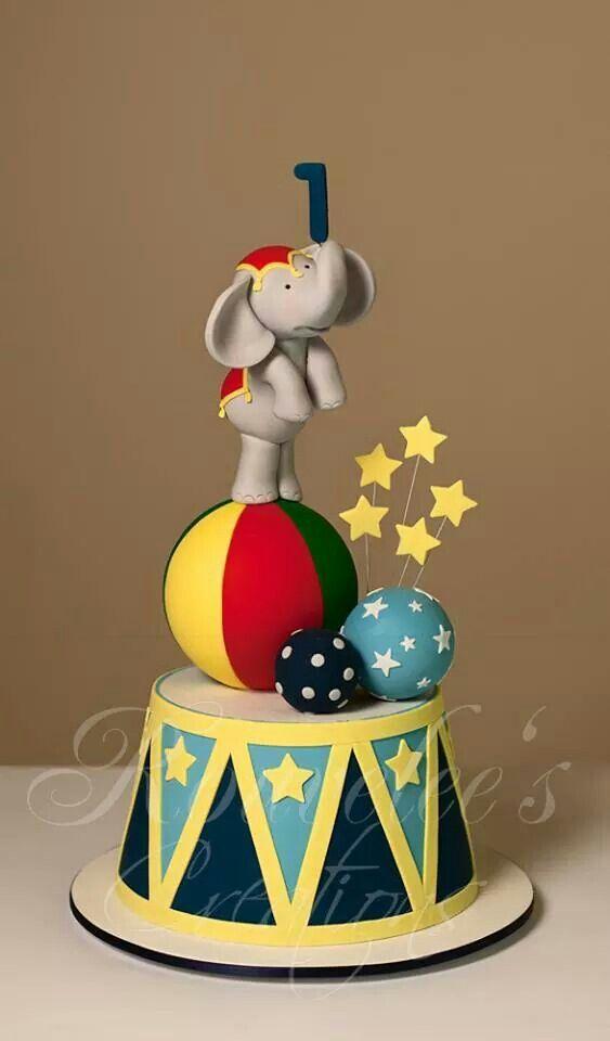 Circus Elephant 1st birthday cake