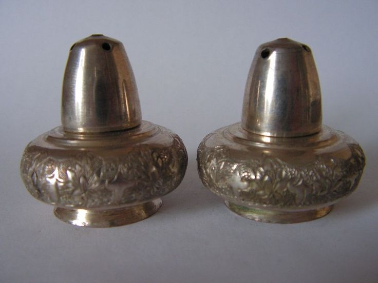 ASIAN SILVER SALT, PEPPER CONDIMENT SET FOLIATE FLORAL ENGRAVING