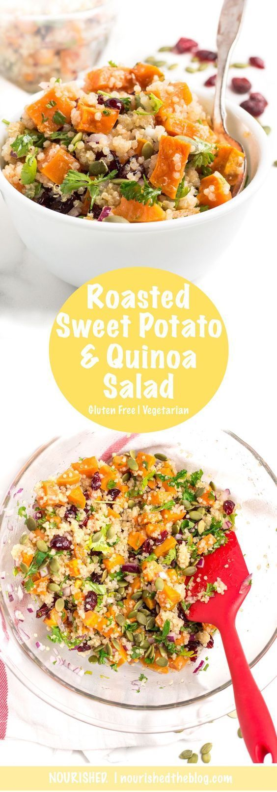 A deliciously sweet and zesty Roasted Sweet Potato Quinoa Salad recipe made gluten free and vegetarian with oven-roasted sweet potatoes, fluffy white quinoa, dried cranberries, onions and fresh herbs all dressed up in a zesty lime vinaigrette. Perfect for