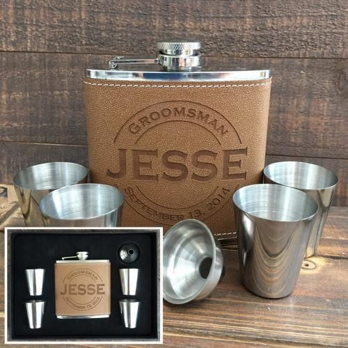 Searching for the Perfect Gift to Give Your Groomsmen? Our Personalized, Engraved Flask Sets Make Great Gifts for Your Groomsmen, Father of the Bride and Groom, Ushers, Birthday Guy, Father's Day, and More! Each Flask is Engraved with a Laser Creating a Crisp finish. Every Set Includes a Black Gift Box, 4 Stainless Steel Shot Glasses, 1 6oz. Leather Flask, and 1 Stainless Steel Funnel.
