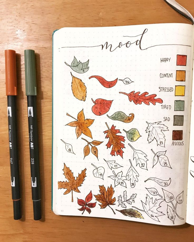 Bullet journal mood tracker, leaf drawings, Autumn drawings, Autumn bullet journal theme. @mrs_bullets_journal42