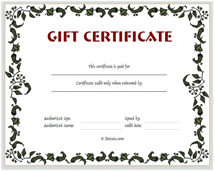 Gift Certificate Template (Floral Design)  Gift Certificate Maker Free