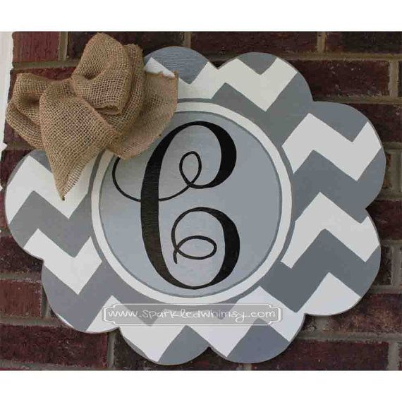 chevron monogram door hanger sign by ideas for display front doorback garage party shower giftsbaby