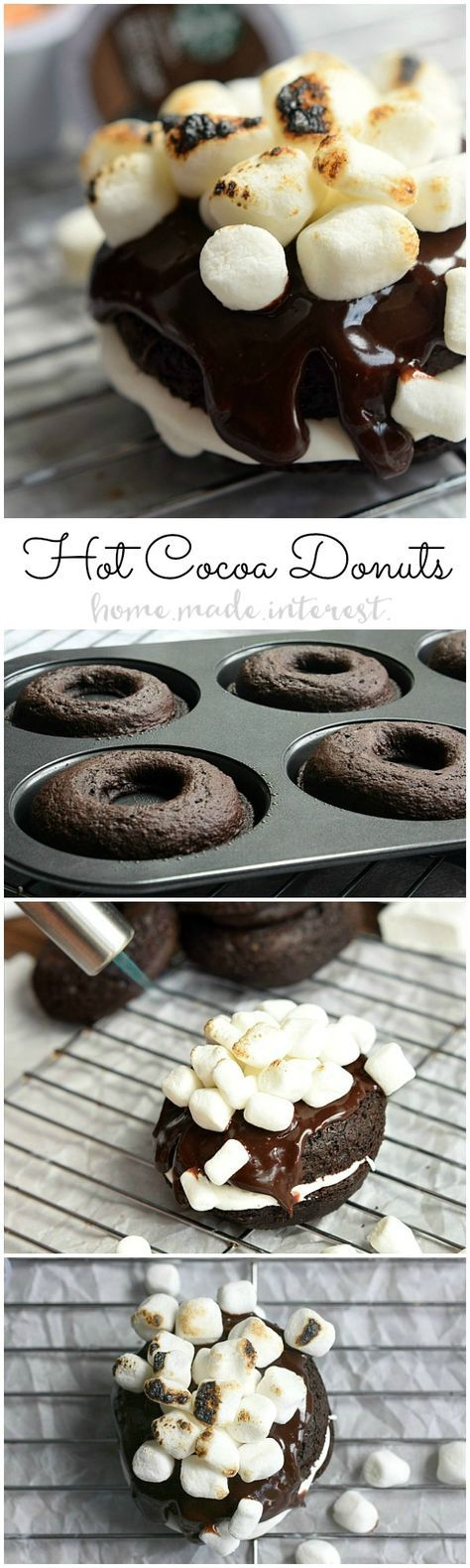 This Hot Cocoa Baked Donut recipe is the best baked doughnut recipe around! A fluffy chocolate cocoa donut filled with marshmallow frosting and topped with chocolate ganache and toasted marshmallows.