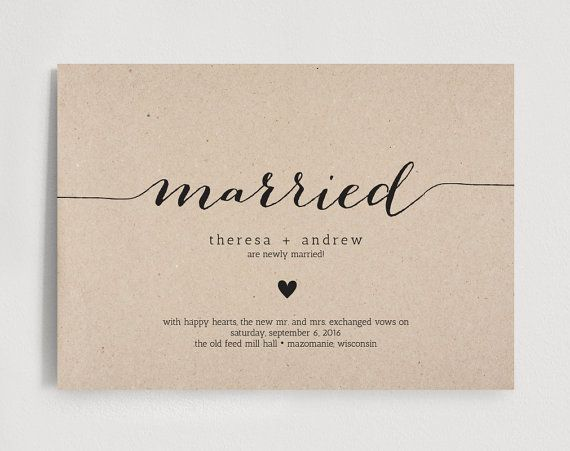 Just Married Wedding Announcement, Elopement Announcement Editable Template - PDF Instant Download  #BPB138