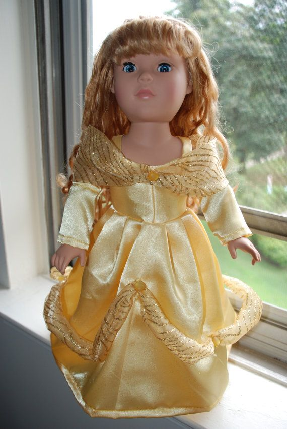 18 in. doll clothes Belle's yellow ball dress by KatyKloset, $30.00