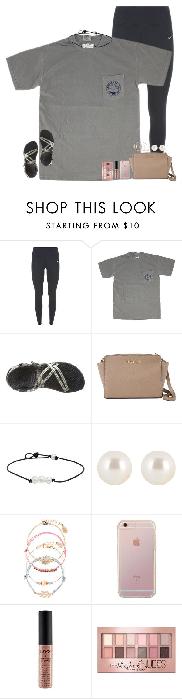 """day 1 of contest!"" by hmcdaniel01 ❤ liked on Polyvore featuring NIKE, Chaco, MICHAEL Michael Kors, Henri Bendel, Accessorize, NYX, Maybelline and sophiesislandvacation"
