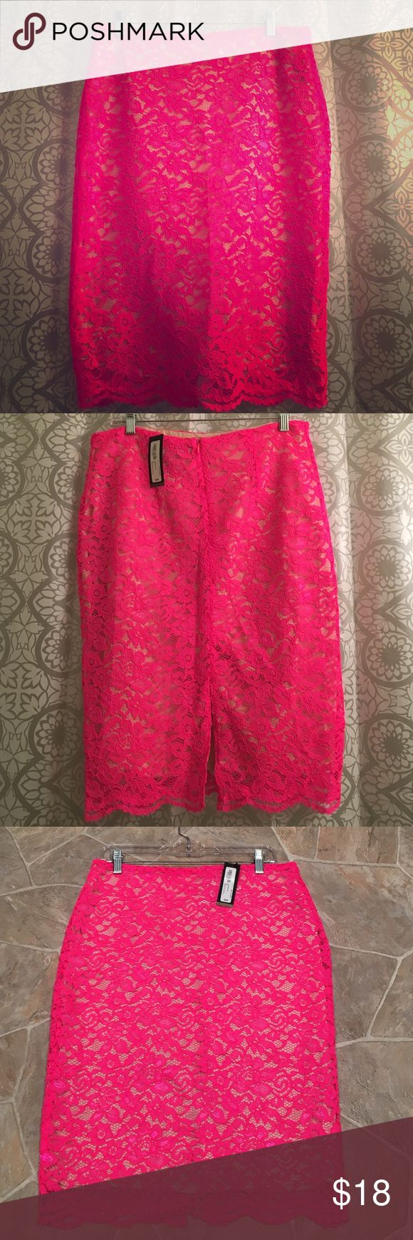 NWT Pink Lace Pencil Skirt Size 12 New with tags pink lace pencil skirt size 12 from Worthington. Skirt is 25 inches long and 16 inches wide at top. Worthington Skirts Pencil