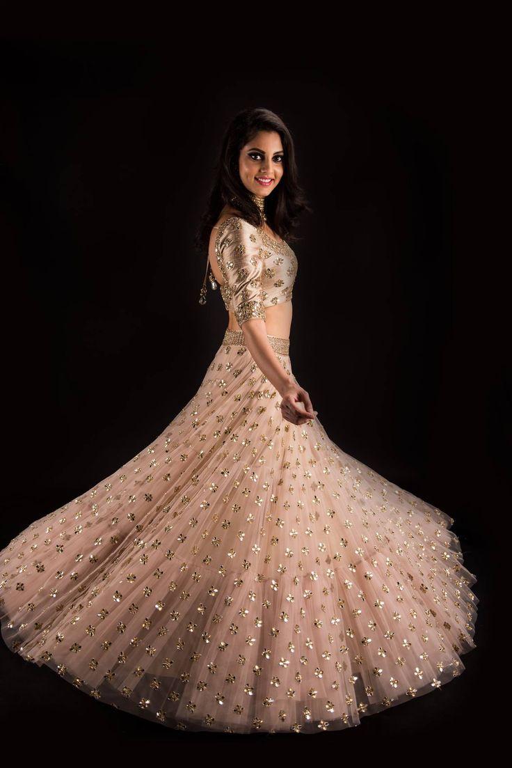 Champagne Aaeena lehenga ~ Banjara by Mrunalini Rao.Model: SakshiPhotography: Akshay Rao PhotographyJewellery: Kalasha Fine Jewels. 05 July 2017