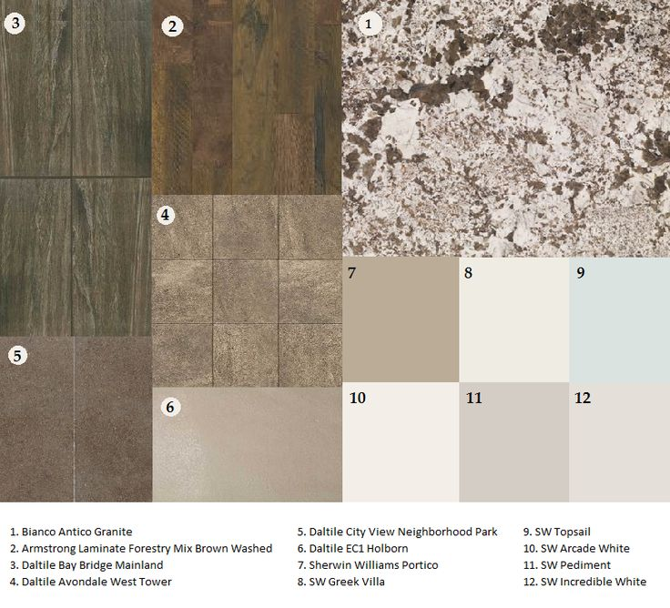 Bianco Antico granite; matching flooring and countertops; sw Portico; sw greek villa; sw topsail; sw arcade white; sw pediment; sw incredible white; Armstrong laminate; daltile Avondale Bay Bridge City View EC1 Holborn