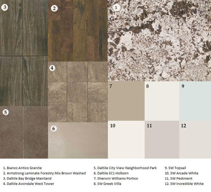 Bianco Antico granite; matching flooring and countertops; sw Portico; sw greek villa; sw topsail; sw arcade white; sw pediment; sw incredible white; Armstrong laminate; daltile Avondale Bay Bridge City View EC1 Holborn