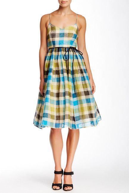 V-Neck Plaid Linen Dress Sponsored by Nordstrom Rack