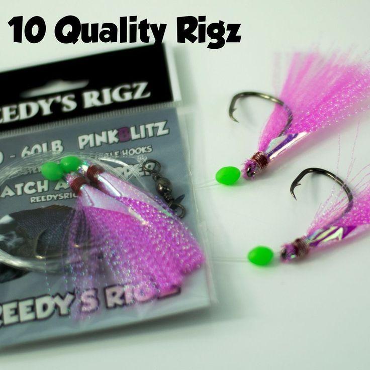 10 Snapper Rigs Fishing Snatchers 5/0 Hooks Paternoster 60lb Leader Bait Rig Fly #BlackLabel