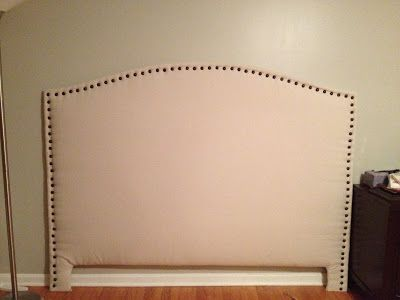 DIY Upholstered Headboard with front nail head trim (love this because it includes all the exact dimensions needed to build this)