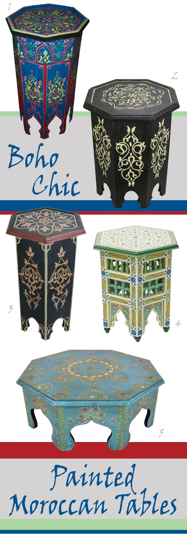 Nomadic Decorator   Painted Moroccan Tables   http://nomadicdecorator.com
