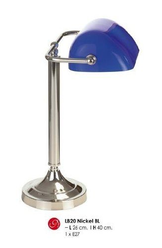 1250 kr. Beautiful crystal glass table lamp with shade, bankers lamp in silver / blue, H 40cm, D 26cm, Nickel BL LB20 Casa-Padrino http://www.amazon.co.uk/dp/B0080AGNEE/ref=cm_sw_r_pi_dp_EJX3wb1JWT7BS