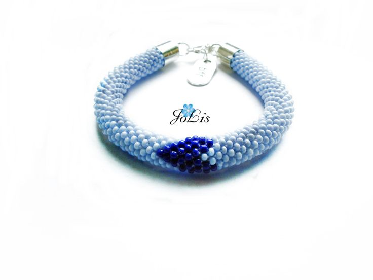 Blue bracelet with a heart of cobalt by MadeByJoLis on Etsy