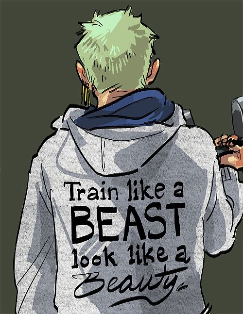 This would be an awesome workout sweatshirt :) Roronoa Zoro - One Piece