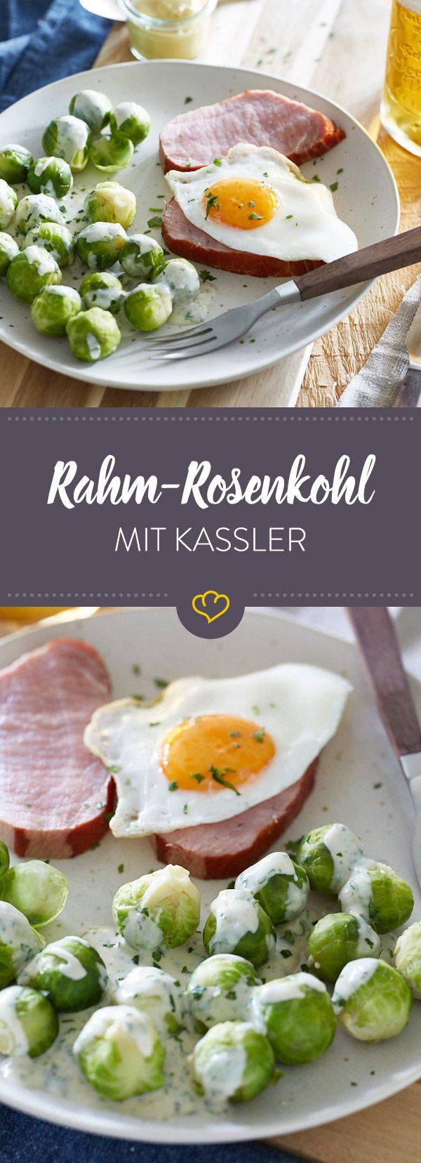 Was braucht man für ein Schicki-Micki-Gericht, wenn man ein saftiges Stück Kassler mit Spiegelei und Rosenkohl in Rahmsauce haben kann?