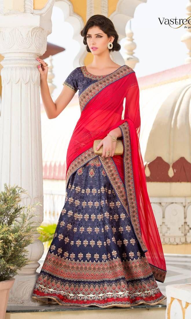 Designer Lehenga Saree Online at Mirraw.com