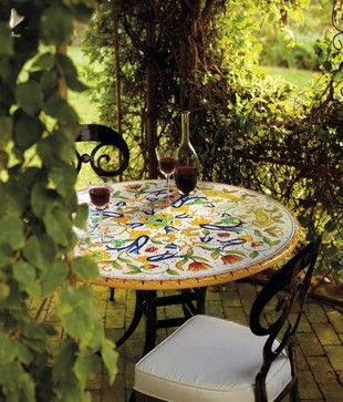 Pisa Hand-Painted Table Top Venetian Chair in Black.jpg - eclectic - outdoor tables - - by FRONTGATE