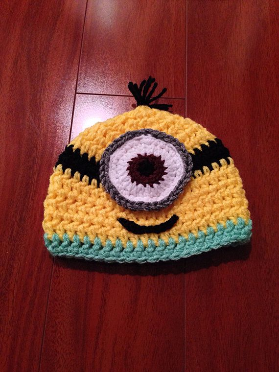 Newborn 0-3 Months Unisex Handmade Crochet One Eye Minion Beanie Hat on Etsy, $15.00