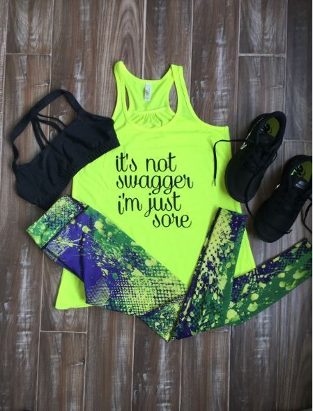 Paint Splatter Leggings with It's Not Swagger I'm Just Sore shirt - Cute...