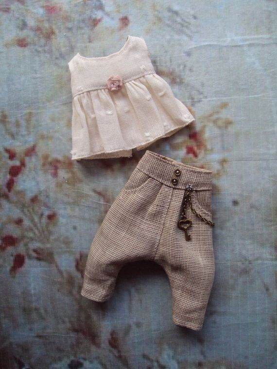 Monkey Pants set for Blythe - Linen by moshimoshi studio