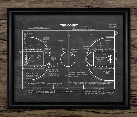 Basketball Court Patent Print Basketball Court Design Basketball Player Gift Idea Single Print 1478 Instant Download In 2021 Patent Prints Basketball Player Gifts Basketball Court